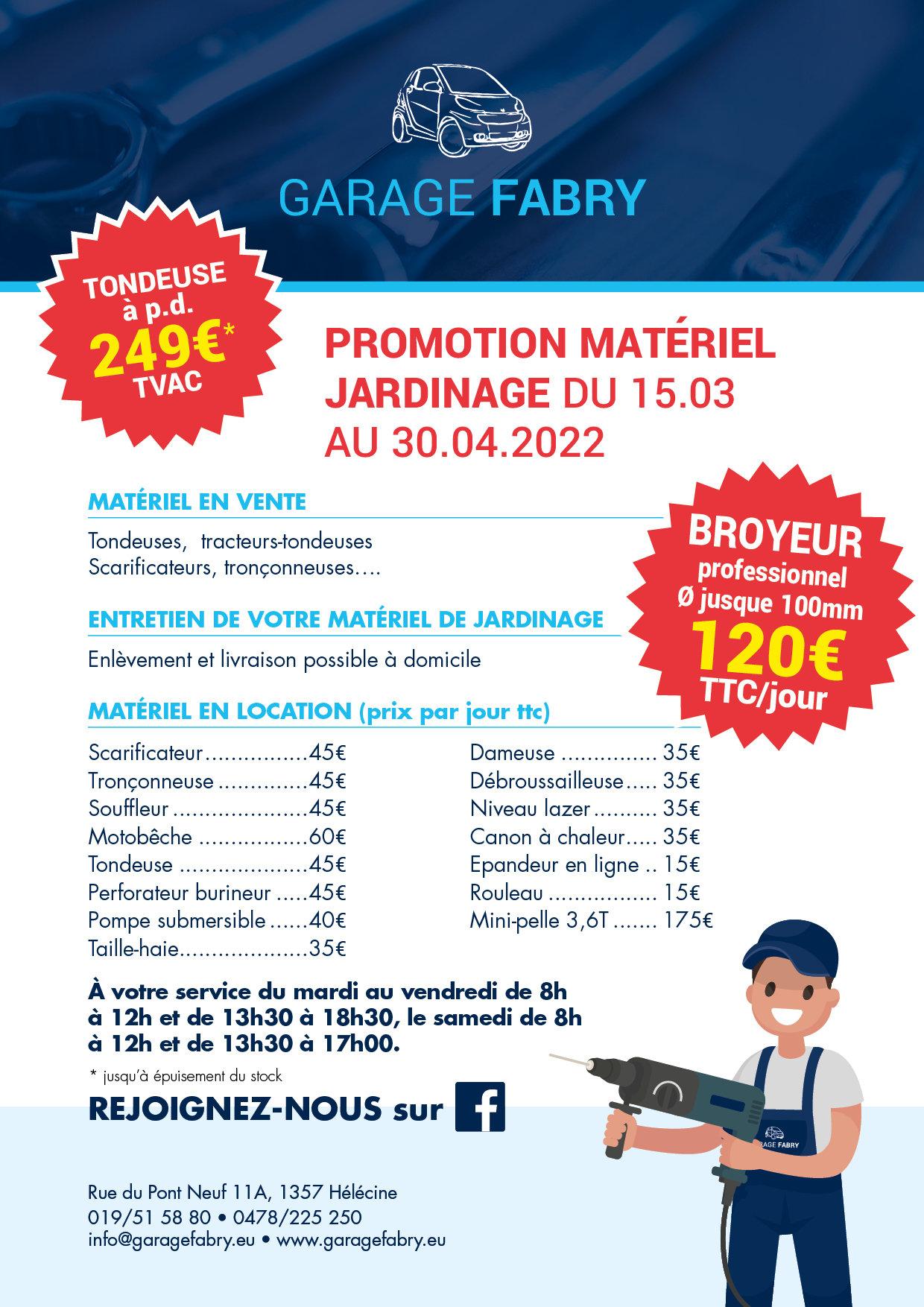 Promotion matériel jardinage - Du 17 mars au 30 avril